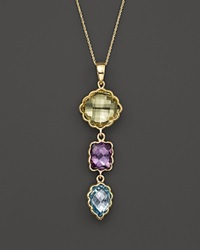 Bloomingdale's Green Quartz Amethyst And Blue Topaz Pendant Necklace In 14K Yellow Gold 17 Gold Multi