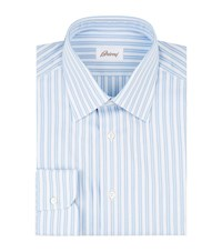 Brioni Jacquard Stripe Shirt Male Blue