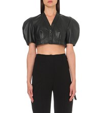J.W.Anderson Puff Sleeve Leather Bolero Jacket Black