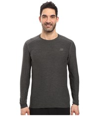 New Balance Transit Long Sleeve Top Heather Charcoal Men's Long Sleeve Pullover Gray