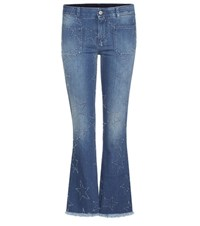 Stella Mccartney Distressed Star Flared Jeans Blue