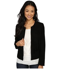 Lucky Brand Fringe No Closure Jacket Black Women's Coat Multi