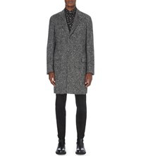 Lanvin Herringbone Alpaca Blend Coat Dark Grey