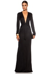 Moschino Long Sleeve Rayon Blend Column Gown In Black