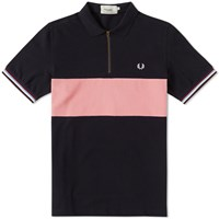 Fred Perry Bradley Wiggins Textured Panel Polo Blue
