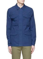 Denham Jeans 'James' Cotton Dobby Field Jacket Blue
