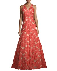 David Meister Sleeveless V Neck Lace Gown Red Women's