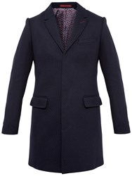Ted Baker Rascot Spotted Twill Overcoat Navy