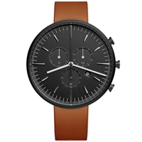 Uniform Wares M42 Chronograph Wristwatch Pvd Black And Tan Leather