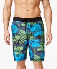 Speedo Men's Tropical Print Swim Trunks Black