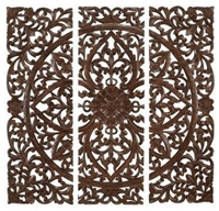 Benzara Hand Carved Wood Wall Panels Sculpture Contemporary Artwork By Amazon