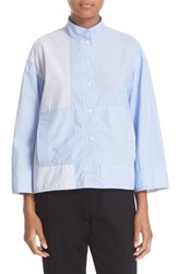 Dkny Women's Mandarin Collar Stripe Cotton Shirt