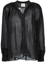 Forte Forte Band Collar Sheer Blouse Black