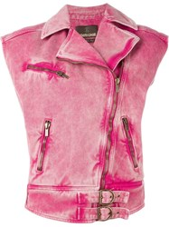 Roberto Cavalli Sleeveless Biker Jacket Pink And Purple