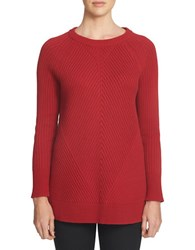 1.State Crewneck Multi Stitch Tunic Sweater Wild Crimson