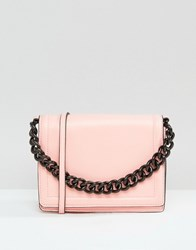 Asos Cross Body Bag With Coated Chain Handle Pink
