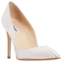 Dune Alia High Stiletto Heel Court Shoes Blush Leather Reptile
