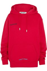 Off White Oversized Printed Cotton Jersey Hooded Top Red