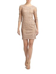 Sue Wong Embroidered Dress Taupe