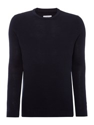 Peter Werth Men's Aileron Textured Cotton Crew Neck Navy