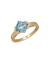 Lord And Taylor Aquamarine Diamond 14K Yellow Gold Ring