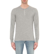 Tom Ford Henley Long Sleeved Cotton Jersey T Shirt Grey