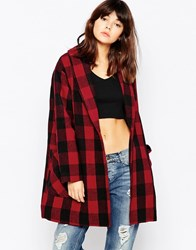 Native Youth Block Check Shawl Coat Red Black