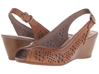 Hush Puppies Baxley Rhea Tan Leather Women's Wedge Shoes
