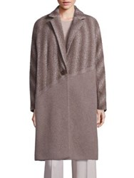 Lafayette 148 New York Magnolia Wool Alpaca And Cashmere Ombre Herringbone Coat Porcini Multi