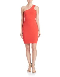 Guess One Shoulder Bandage Dress Coral Red