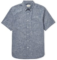 Club Monaco Slim Fit Button Down Collar Printed Cotton Shirt Sky Blue