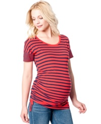 Jessica Simpson Maternity Striped Ruched Tee Red Stripe