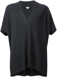 Vince V Neck Shortsleeved Blouse Grey
