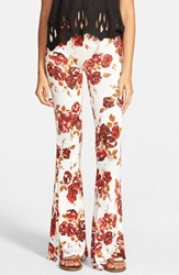 Volcom 'Secrecy' Floral Print Flare Pants Blood Red