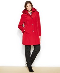 Calvin Klein Plus Size Hooded Single Breasted Raincoat Red