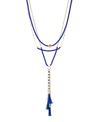 Lydell Nyc Multi Strand Layered Tassel Necklace Blue Othe