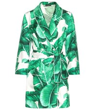 Dolce And Gabbana Printed Silk Jacket Green