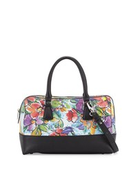 Charles Jourdan Mesi 2 Floral Leather Satchel Bag Black