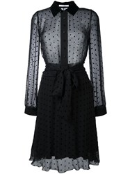 Givenchy Star Embellished Sheer Shirt Dress Black