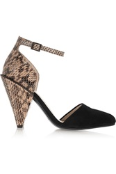 See By Chloe Suede And Snake Effect Leather Pumps