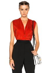 Lanvin Silk V Neck Blouse In Red Floral