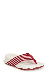 Fitflop 'Surfa' Thong Sandal Women Red Urban White Fabric