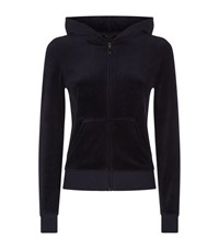 Juicy Couture Logo Medallion Velour Hoodie Female Navy