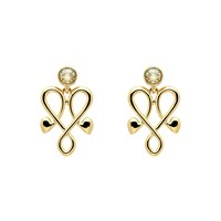 Biba Gold Heart Crystal Emblem Earrings