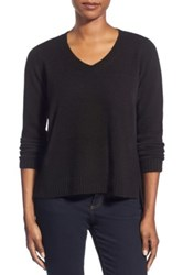 Eileen Fisher Boxy Wool V Neck Pullover Metallic