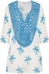 Miguelina Leah Crochet Paneled Printed Cotton Gauze Coverup Blue