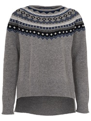 French Connection Fran Fairisle Crew Neck Jumper Grey