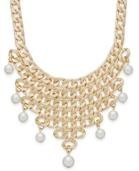 Bar Iii Gold Tone Imitation Pearl Chain Fringe Frontal Necklace