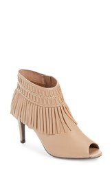 J. Renee Women's Saharr Fringe Peep Toe Bootie Nude Leather