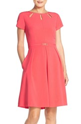 Women's Ellen Tracy Cutout Neck Fit And Flare Dress Coral